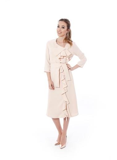 Soie Design Volanlı Midi Elbise Bej